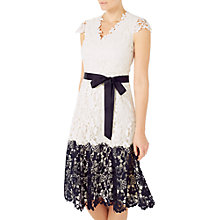 Buy Jacques Vert Contrast Lace Border Dress, Multi/Cream Online at johnlewis.com