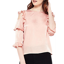 Buy Miss Selfridge Ruffle Shoulder Top, Pink Online at johnlewis.com