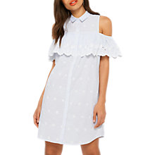 Buy Miss Selfridge Embroidered Cold Shoulder Shirt Dress, Pale Blue Online at johnlewis.com