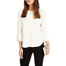 Buy Phase Eight Bettie Cuff Detail Blouse, Cream Online at johnlewis.com