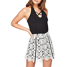 Buy Miss Selfridge Petite Mono Lace Shorts, Black/White Online at johnlewis.com
