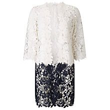 Buy Jacques Vert Floral Lace Border Shacket, Multi/Cream Online at johnlewis.com