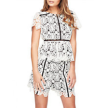 Buy Miss Selfridge Petite Lace Top, Monochrome Online at johnlewis.com