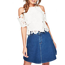 Buy Miss Selfridge Petite Cold Shoulder Lace Blouse, Ivory Online at johnlewis.com