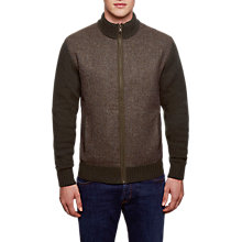Buy Hackett London Tweed Front Cardigan, Green Online at johnlewis.com