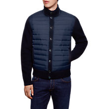 Buy Hackett London Padded Front Button Cardigan, Navy Online at johnlewis.com
