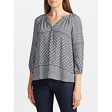Buy Collection WEEKEND by John Lewis Lavinia Tile Print Top, Navy/Ivory Online at johnlewis.com
