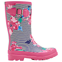 Buy Little Joule Children's Stripe Floral Wellington Boots, Pink Online at johnlewis.com