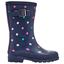 Buy Little Joule Children's Multi Spot Wellington Boots, Navy Online at johnlewis.com