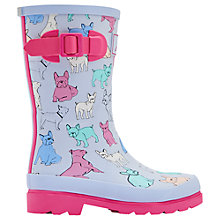 Buy Little Joule Children's Bulldog Wellington Boots, Sky Blue Online at johnlewis.com