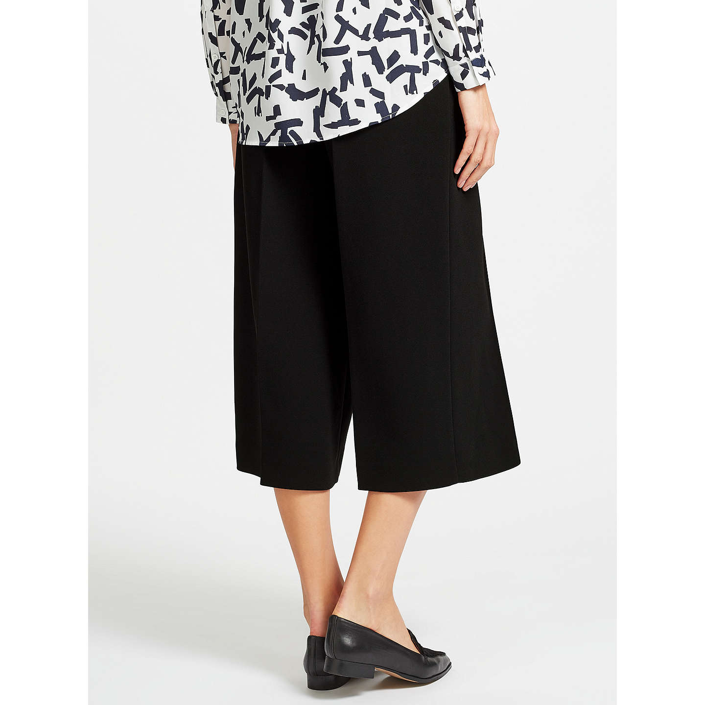 BuyKin by John Lewis Twill Wide Leg Cropped Trousers, Black, 8 Online at johnlewis.com