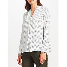 Buy John Lewis Rhiannon Pin Dot Blouse, White Online at johnlewis.com