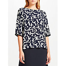 Buy Kin by John Lewis Calligraphy Top, Navy Online at johnlewis.com