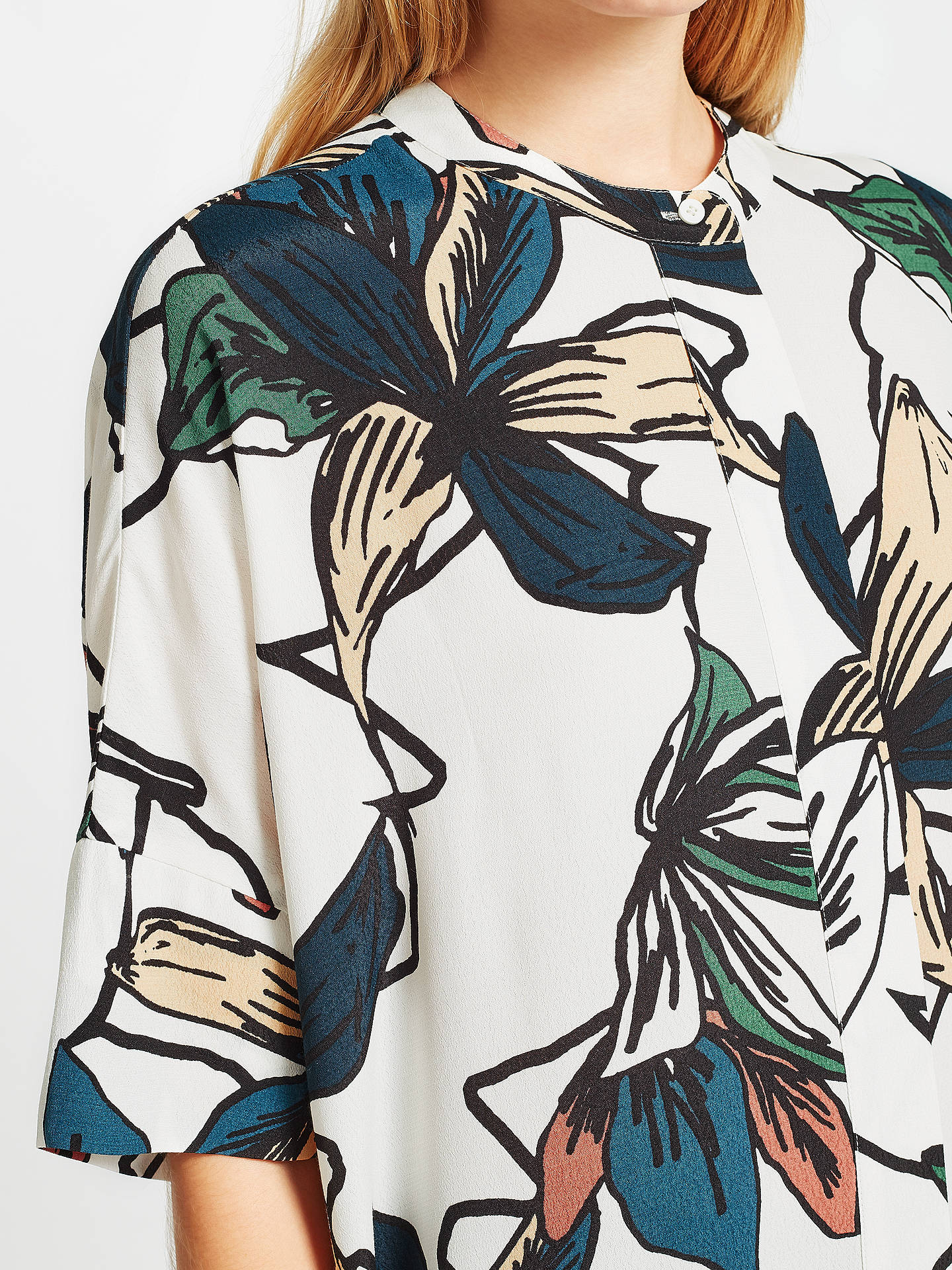 BuyKin Japanese Floral Oversized Shirt, White, 8 Online at johnlewis.com