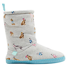Buy Joules Dog Print Slipper Socks, Grey Marl Online at johnlewis.com
