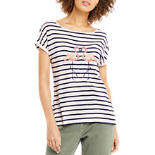 Buy Oasis Kissing Flamingo Stripe T-Shirt, Blue Online at johnlewis.com