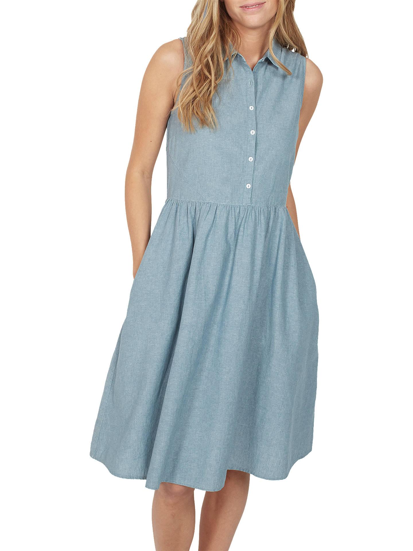 Festival Next Denim Chambray Pure Cotton Dress Dark Blue Garden Party Sz 14 100% High Quality Materials
