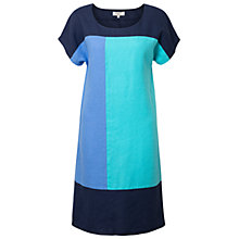 Buy East Linen Colour Block Dress, Cornflower Online at johnlewis.com