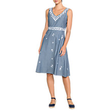 Buy East Maria Embroidered Dress, Chambray Online at johnlewis.com