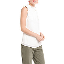 Buy Oasis Lace Frill Sleeveless Top, Off White Online at johnlewis.com