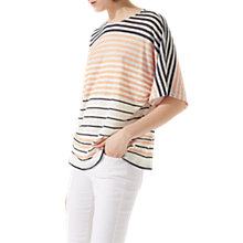 Buy Jigsaw Linen Stripe T-Shirt, Peach Glow Online at johnlewis.com