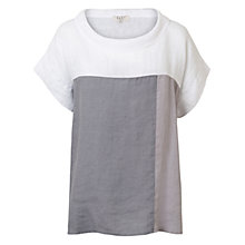 Buy East Linen Colour Block Top, White/Grey Online at johnlewis.com