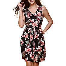 Buy Yumi Floral Print V-Neck Dress, Black Online at johnlewis.com