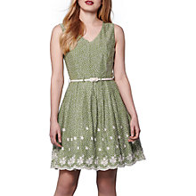 Buy Yumi Embroidered Hem Dress, Green Online at johnlewis.com