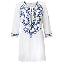 Buy East Chikan Embroidered Tunic, White/Blue Online at johnlewis.com