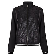 Buy Calvin Klein Olsa Material Mix Bomber Jacket, Black Online at johnlewis.com