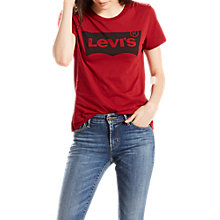 Buy Levi's The Perfect Logo T-Shirt, Red Dahlia Online at johnlewis.com