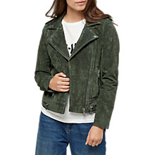 Buy Selected Femme Lore Suede Leather Jacket, Forest Green Online at johnlewis.com