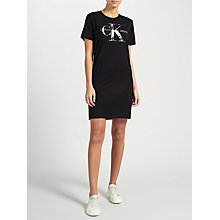 Buy Calvin Klein Dakota Logo T-Shirt Dress, Black Online at johnlewis.com
