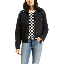 Buy Levi's Ex-BF Sherpa Trucker Jacket, Jet Black Night Online at johnlewis.com