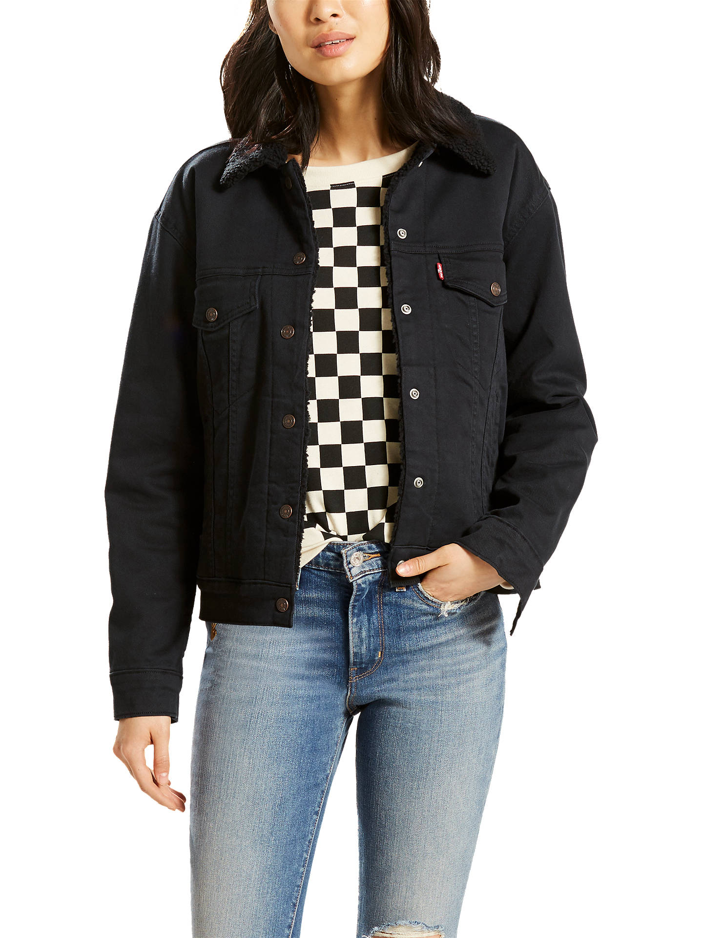 dec85bd2 Buy Levi's Ex-BF Sherpa Trucker Jacket, Jet Black Night, XS Online at ...