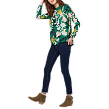 Buy Joules Ada High Neck Woven Top, Oak Green Fay Floral Online at johnlewis.com