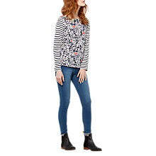 Buy Joules Harbour Long Sleeve Printed Jersey Top, Cream Ria Ditsy Online at johnlewis.com