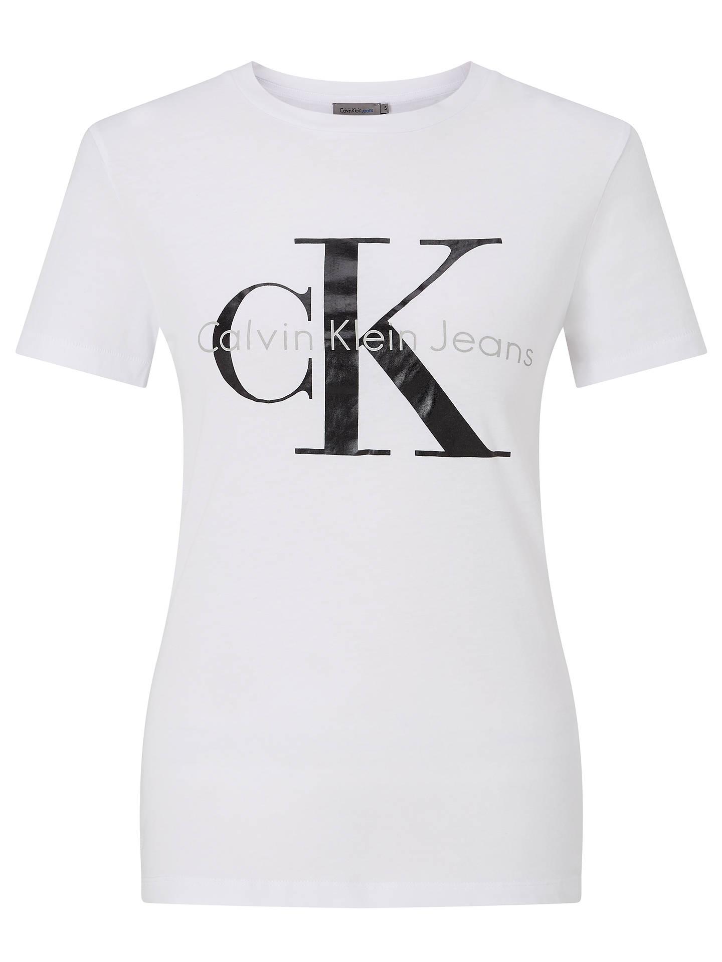 BuyCalvin Klein Shrunken Slim Fit Logo T-Shirt, Bright White, XS Online at  ... 69162c90d0