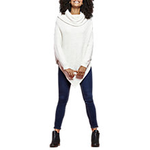 Buy Joules Sheena Roll Neck Poncho, Cream Marl Online at johnlewis.com