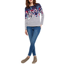 Buy Joules Harbour Long Sleeve Printed Jersey Top, Cream Camellia Border Stripe Online at johnlewis.com