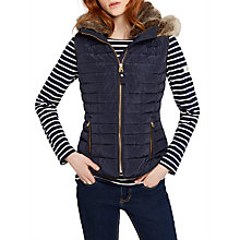 Buy Joules Melbury Faux Fur Trim Hooded Gilet Online at johnlewis.com