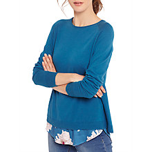 Buy Joules Ellenor Woven Knit Mix Jumper, Dark Topaz Online at johnlewis.com