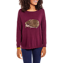 Buy Joules Meryl Luxe Intarsia Jumper, Burgundy Hedgehog Online at johnlewis.com