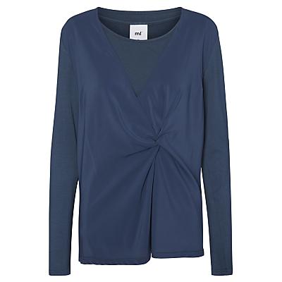 Mamalicious Amalia Tess Knot Long Sleeve Jersey Top, Denim Blue