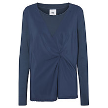 Buy Mamalicious Amalia Tess Knot Long Sleeve Jersey Top, Denim Blue Online at johnlewis.com
