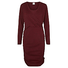 Buy Mamalicious Miron Tess Long Sleeve Jersey Maternity Nursing Dress, Burgundy Online at johnlewis.com