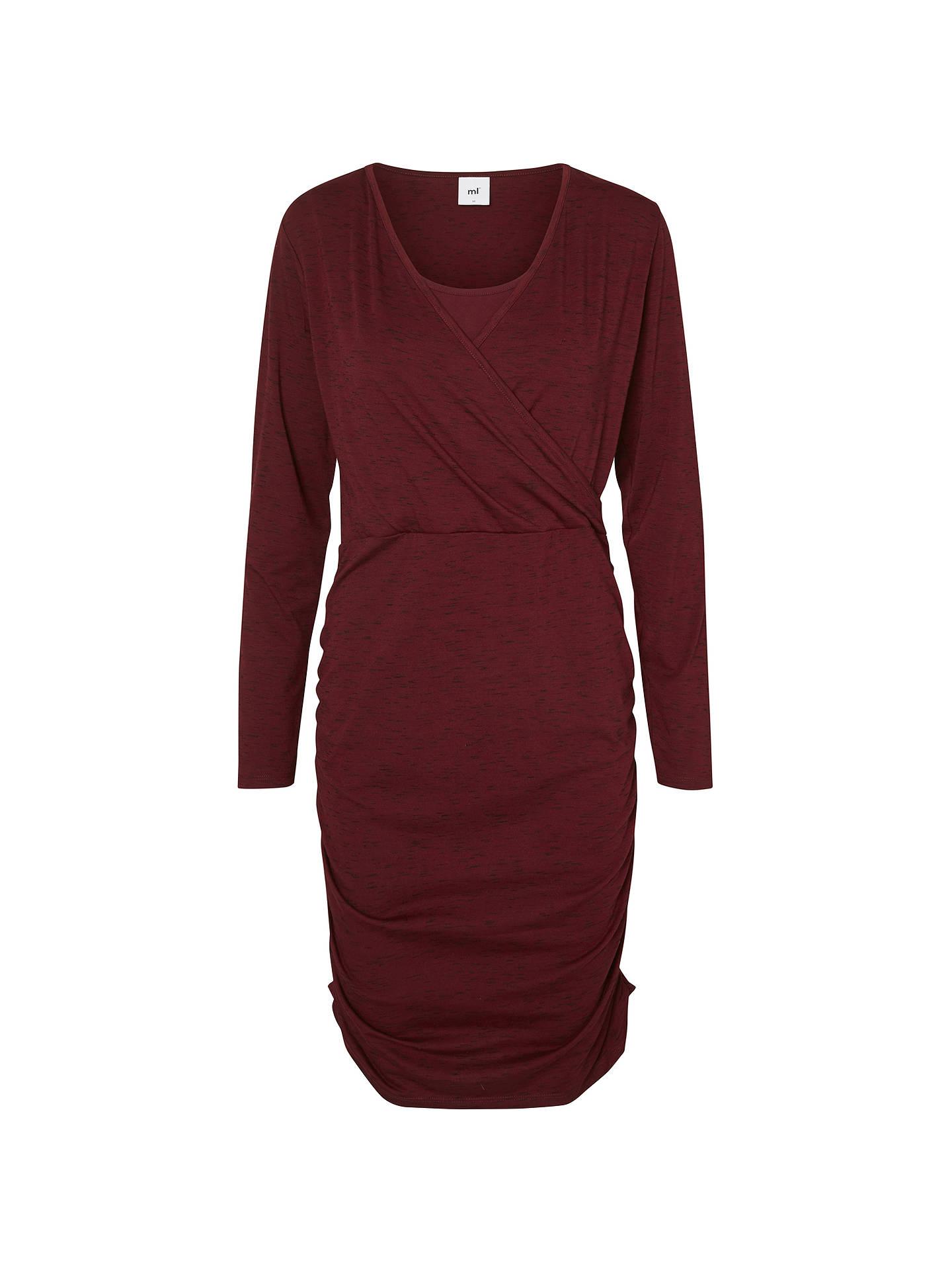 dac778aff8d83 Buy Mamalicious Miron Tess Long Sleeve Jersey Maternity Nursing Dress,  Burgundy, S Online at ...