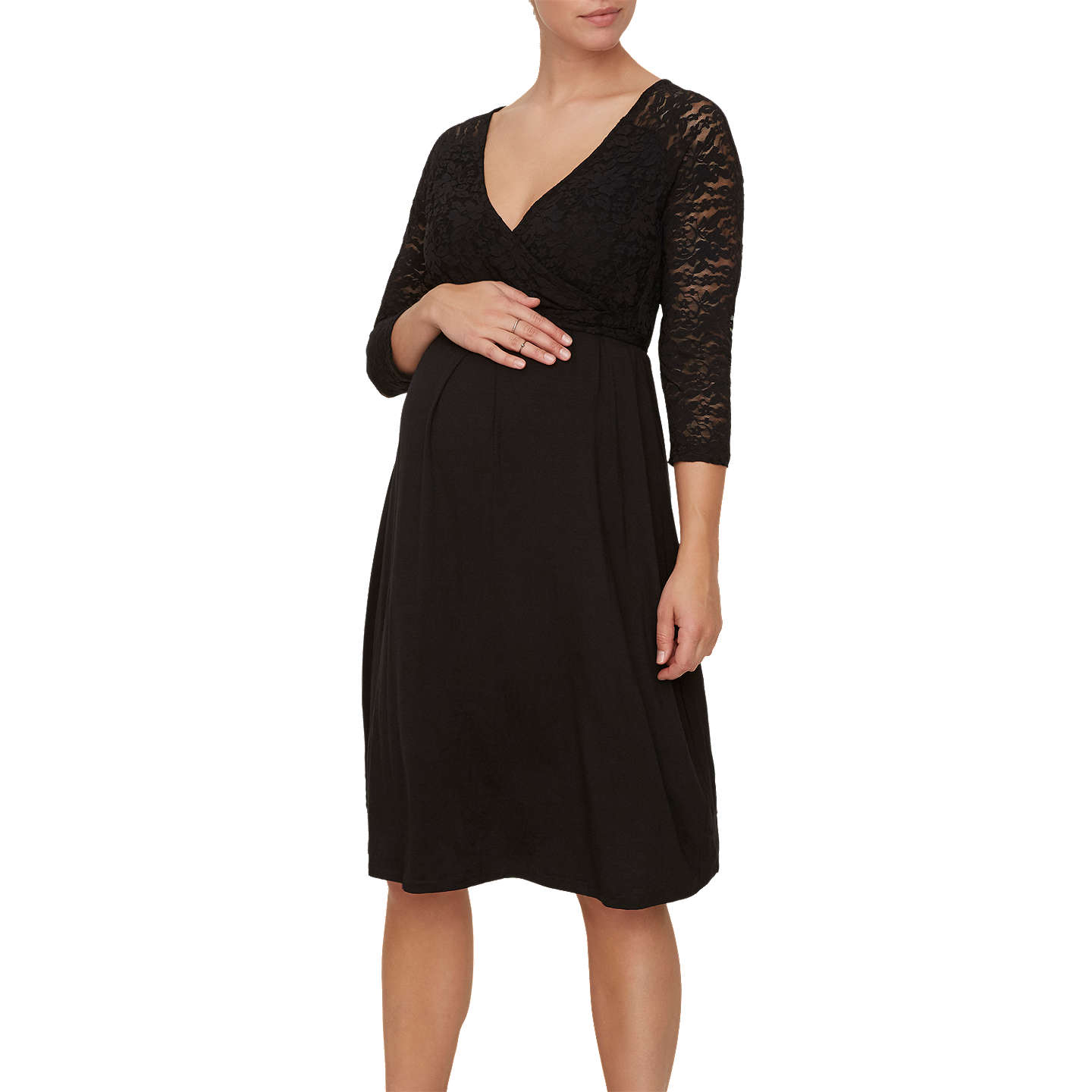 BuyMamalicious Winnie Lace Detail Jersey Maternity Dress, Black, M Online at johnlewis.com