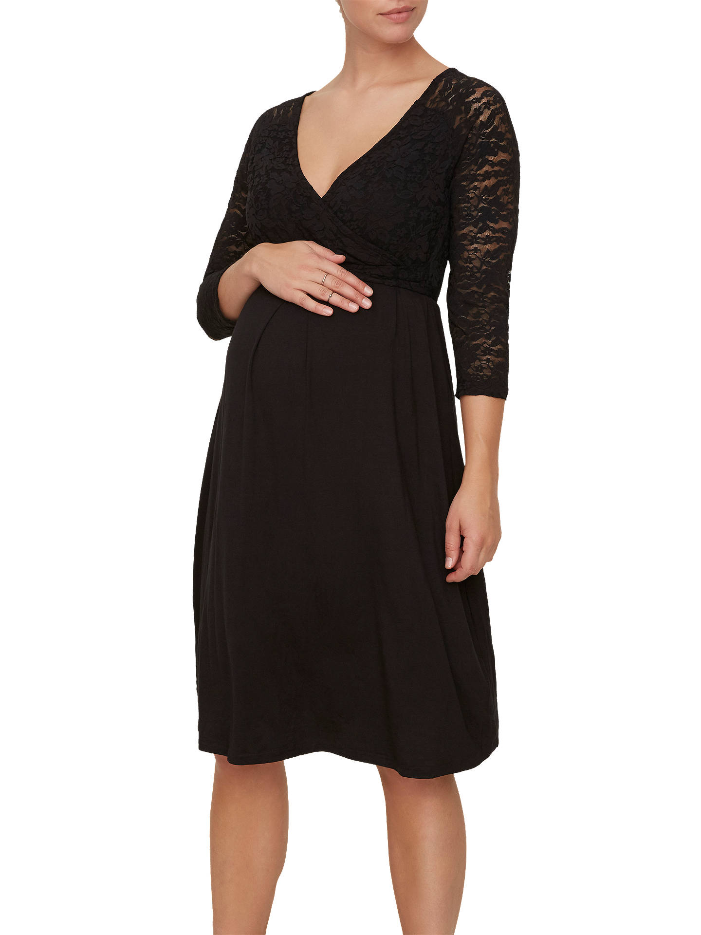 BuyMamalicious Winnie Lace Detail Jersey Maternity Dress, Black, S Online at johnlewis.com