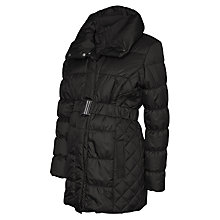Buy Mamalicious Zita Long Quilted Padded Maternity Coat, Black Online at johnlewis.com